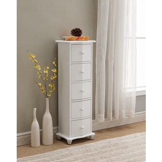 White Wood 5-drawer Accent Cabinet