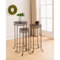 K and B Furniture Co. Inc Brushed Copper Metal 3-Piece Side Tables