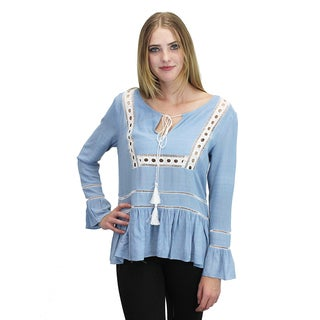 Relished Women's Blue Embroidered Peasant Top