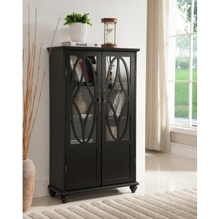 K and B Furniture Co Inc Black Wood Curio Cabinet