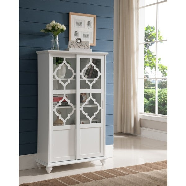 K And B Furniture White Wood Curio Cabinet