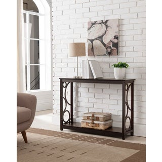 K and B Furniture Dark Cherry Wood Entryway Table