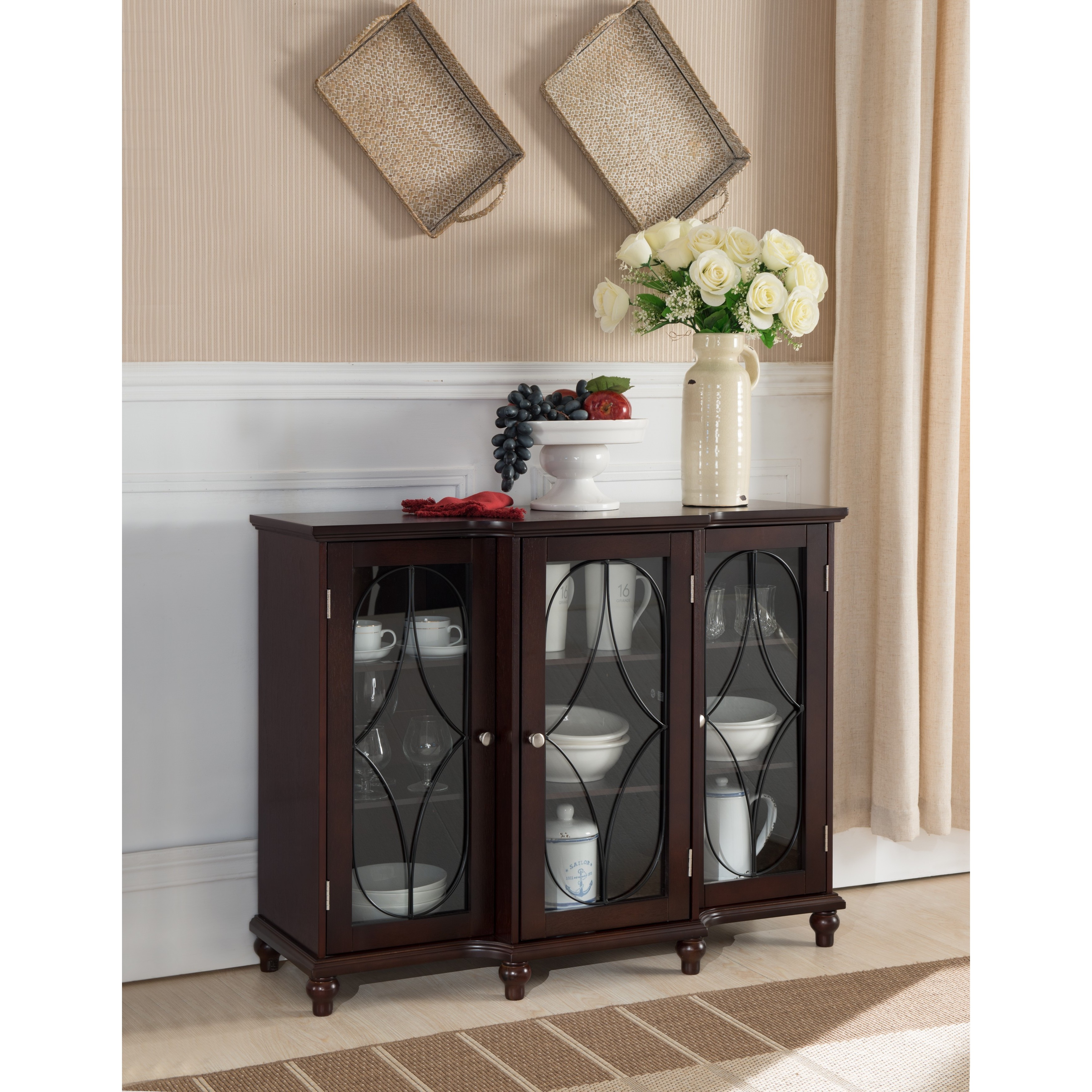 Dark Brown Cherry Wood Console Table With Glass Doors