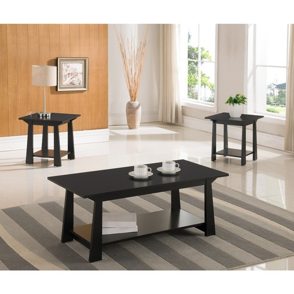 Black Wood 3-piece Occasional Table Set
