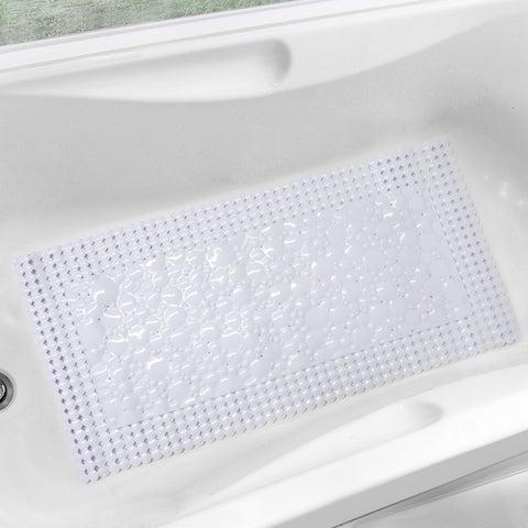 """Bubbles-N-Circles White or Clear Trim-Fit Tub Mat (20"""" x 40"""")"""