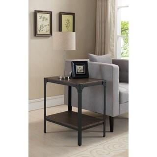K and B Furniture Black Metal and Brown Wood Sofa Table