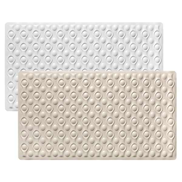 "Non-Slip Natural Rubber Tub Mat (16""x28"") Beige or White"