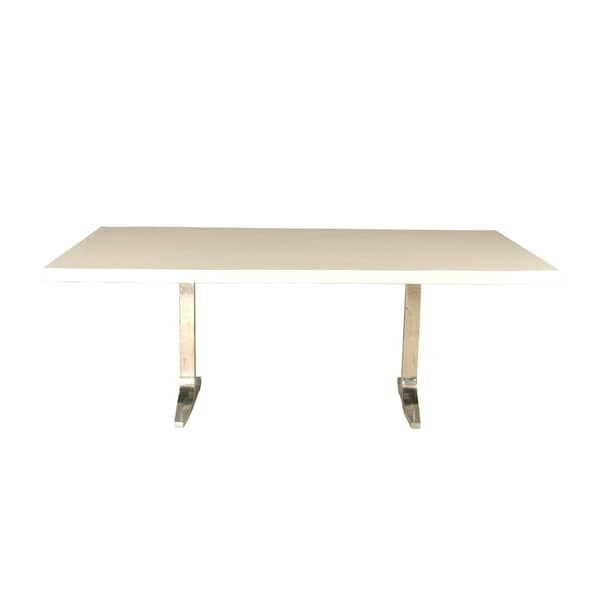 Saloom Apollo 42x96-inch Rectangular White Acrylic Wave Edge Top Custom Dining Table with Trestle