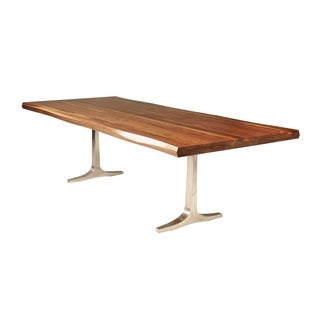 Saloom Apollo 42x96-inch Rectangular Black Walnut Wave Edge Top Custom Dining Table with Trestle Base