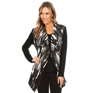 High Secret Women's Black and White Knit Sleeveless Round Neck Top and Open Front Cardigan 2-piece Set - Black/White