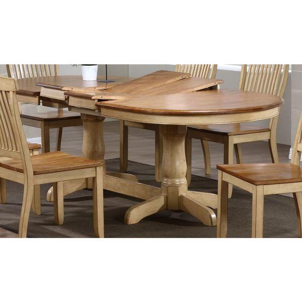 Iconic Furniture Company 7 Piece Honey Sand Napoleon 42 X66 X78 X90 Oval Dining Set Free