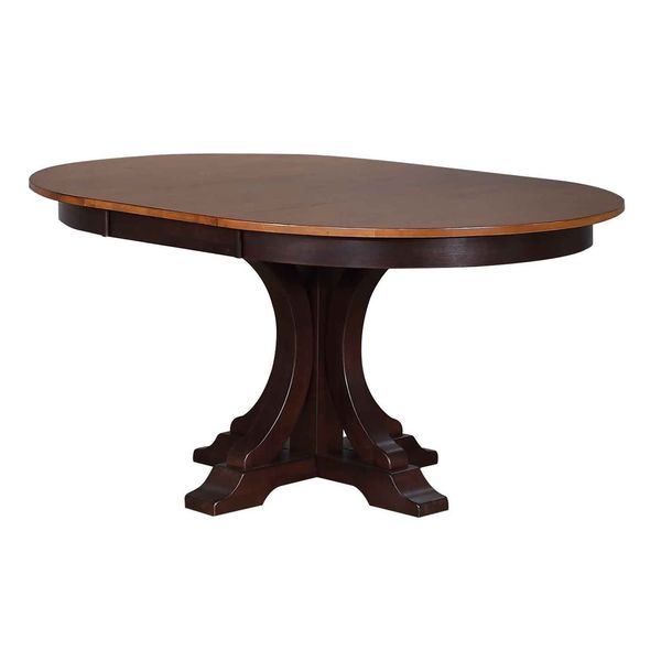 Iconic Furniture Company Whiskey/Mocha Round Art Deco Inspired Dining Table