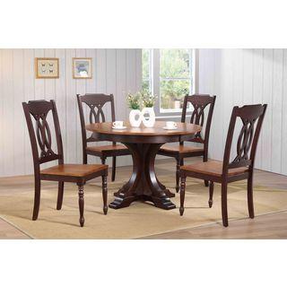 "Iconic Furniture Company 45""x45""x63"" Deco Whiskey/Mocha Traditional Back 5-Piece Dining Set"