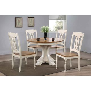 """Iconic Furniture Company 45""""x45""""x63"""" Deco Antiqued Caramel/Biscotti Traditional Back 5-Piece Dining Set"""