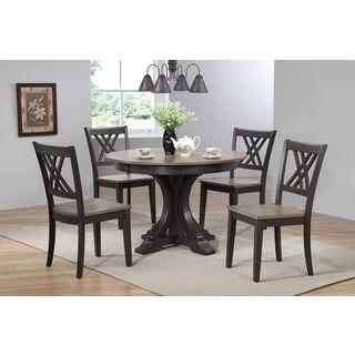 "Iconic Furniture Company 45x45""x63 Deco Antiqued Grey Stone/Black Stone Double X- Back 5-Piece Dining Set"