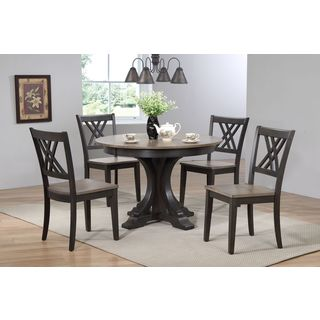 "Iconic Furniture Company 45x45""x63 Deco Antiqued Grey Stone/Black Stone Double X- Back 5-Piece Dining Set"