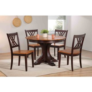 "Iconic Furniture Company 45""x45""x63"" Deco Whiskey/Mocha Double X- Back 5-Piece Dining Set"