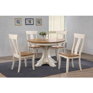"""Iconic Furniture Company 45""""x45""""x63"""" Deco Antiqued Caramel/Biscotti Panel Back 5-Piece Dining Set"""