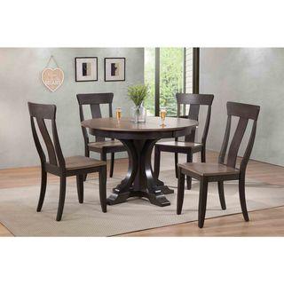 "Iconic Furniture Company 45x45""x63 Deco Antiqued Grey Stone/Black Stone Panel Back  5-Piece Dining Set"