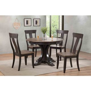 "Iconic Furniture Company 45x45""x63 Deco Antiqued Grey Stone/Black Stone Panel Back 5-Piece Dining Set"
