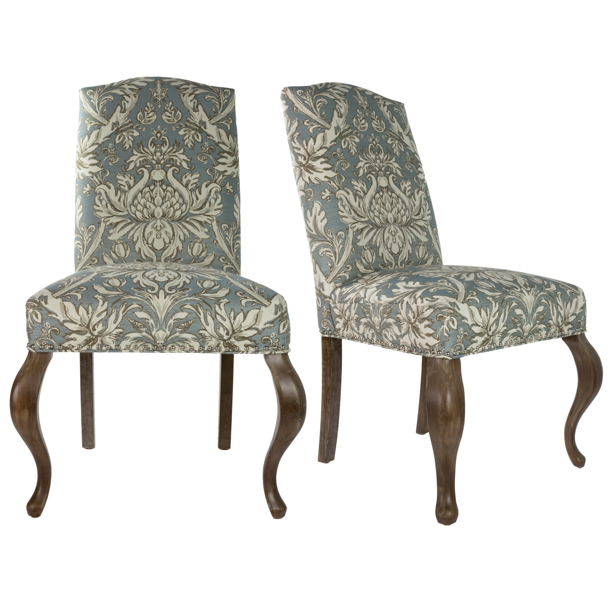 Sole Designs Cream and Light Blue Fabric Upholstered Came...