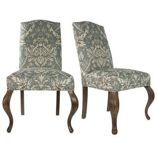 Sole Designs Cream and Light Blue Fabric Upholstered Camel-back Queen Ann Dining Chair (Set of 2)