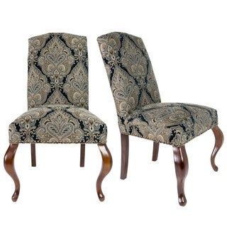 Sole Designs Set of 2 Camel Back Queen Ann Spring Seating Upholstered Dining Chair - Black and Gold