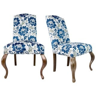 Sole Designs Set of 2 Camel Back Queen Ann Spring Seating Upholstered Dining Chair - Navy and Ivory