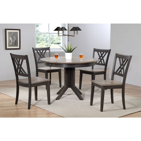 """Iconic Furniture Company 45""""x45""""x63"""" Contemporary Antiqued Grey Stone/Black Stone Double X- Back 5-Piece Dining Set"""