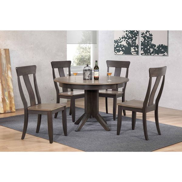 """Iconic Furniture Company 45x45""""x63 Contemporary Antiqued Grey Stone/Black Stone Panel Back 5-Piece Dining Set"""