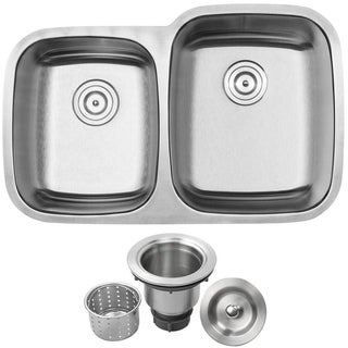 "32-1/4"" Phoenix L-4 Stainless Steel 18 Gauge Undermount Double Bowl Kitchen Sink"