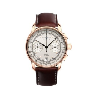 Graf Zeppelin 100 Years of Zeppelin Brown Leather and Stainless Steel Quartz Chronograph Watch #7672-1
