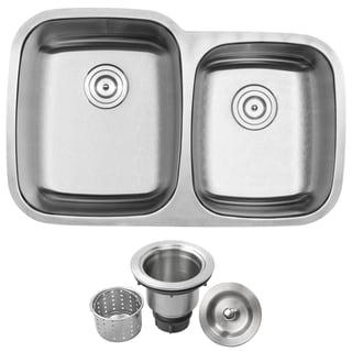 "32-1/4"" Phoenix L-3 Stainless Steel 18 Gauge Undermount Double Bowl Kitchen Sink"