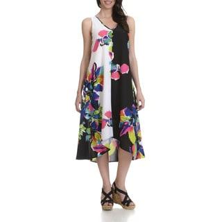 Joan Vass Women's Multicolor V-neck Sleeveless Floral-print Dress