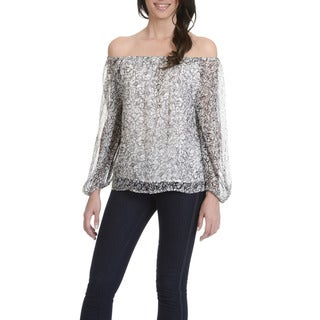 Joan Vass Women's Abstract Print Off-shoulder Top (4 options available)