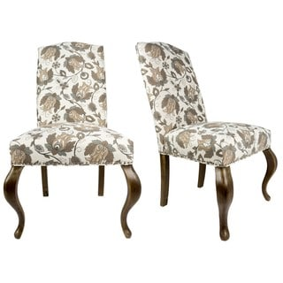 Sole Designs Set of 2 Camel Back Queen Ann Spring Seating Upholstered Dining Chair - Mauve, Taupe and Ivory