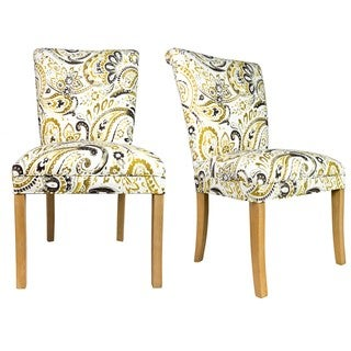 Sole Designs Mustard/White Wood/Fabric Roll-back Spring Seating Upholstered Dining Chair (Set of 2)