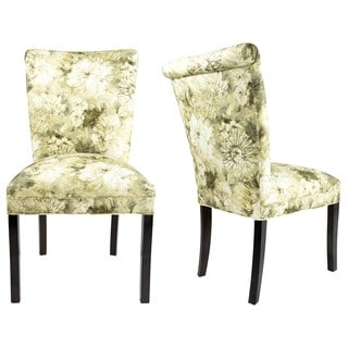 Sole Designs Set of 2 Roll Back Spring Seating Upholstered Dining Chair - Cream and Green