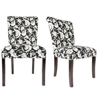 Sole Designs Black/White Roll-back Spring Seating Upholstered Dining Chairs (Set of 2)