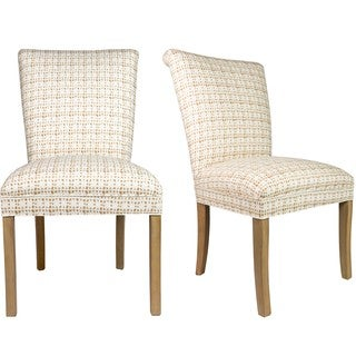 Sole Designs Set of 2 Roll Back Spring Seating Upholstered Dining Chair - Camel and White