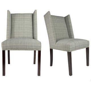 Sole Designs Set of 2 Winged Nail Head Spring Seating Upholstered Dining Chairs - Black and White