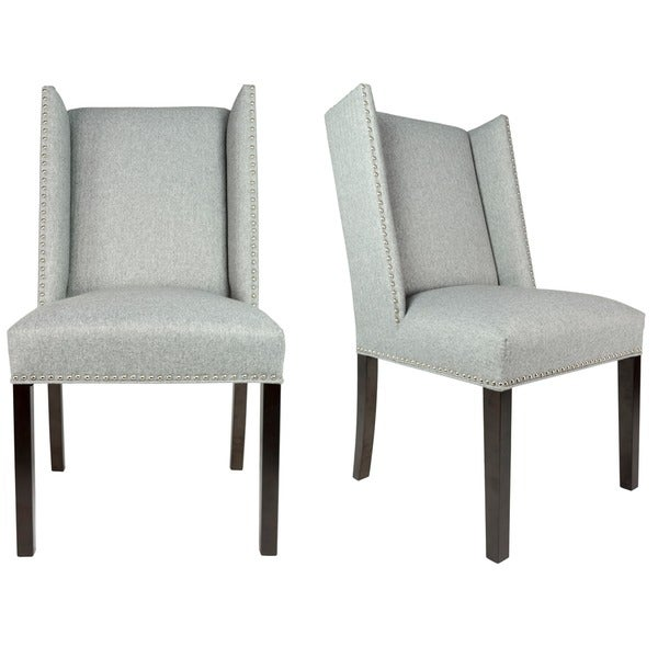 Sole Designs Set Of 2 Winged Nail Head Spring Seating Upholstered Dining  Chairs   Grey