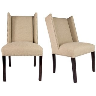 Sole Designs Set of 2 Winged Nail Head Spring Seating Upholstered Dining Chairs - Camel