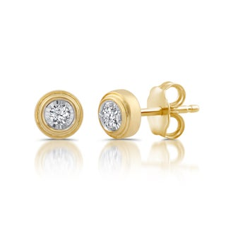 1/10 CTTW Genuine Diamond Solitaire Stud Earrings in Sterling Silver (I-J/I2-I3)