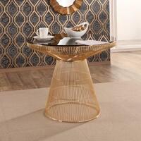 Abbyson Alexa Gold Metal Dining Table