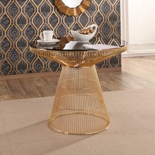 Abbyson Alexa Gold Metal Dining Table