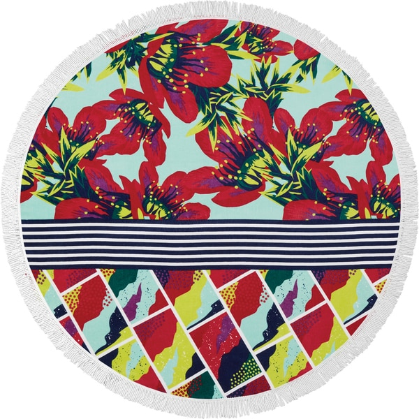 Bonfire Bay Summer Blossoms Round Beach Towel