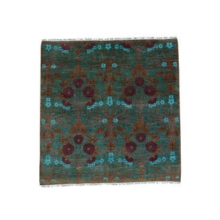 Shahbanu Rugs Hand-Spun Wool Hand-knotted Modern Arts and Crafts Square Rug - 4'1 x 4'1