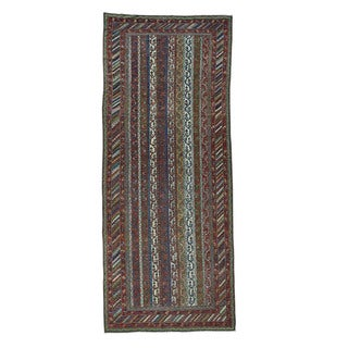 Shahbanu Rugs Antique Northwest Persian Shawl Design Wide Runner Rug - Multi