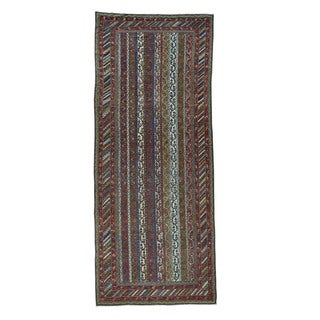 Shahbanu Rugs Antique Northwest Persian Shawl Design Wide Runner Rug - 6'5 x 15'6